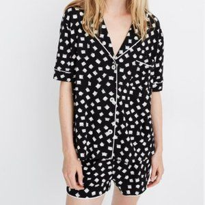 Madewell B/W Knit Bedtime Cat Person Pajama Set S